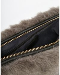 Oasis - Gray Faux Fur Clutch Bag - Lyst