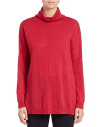 Eileen Fisher | Pink Relaxed Merino Wool Turtleneck Sweater | Lyst