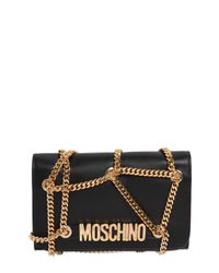 Moschino | Black Chained Quilted Leather Shoulder Bag | Lyst