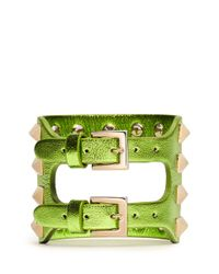 Valentino | Green Rockstud Cutout Leather Bracelet | Lyst