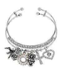 Betsey Johnson - Metallic Glitz And Silvertone Owl Charm Bangle Bracelet Set Of 2 - Lyst