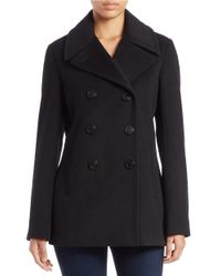 Calvin Klein | Black Petite Double-breasted Wool-blend Peacoat | Lyst