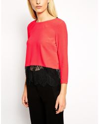 Y.A.S - Orange Top With Lace Underlay And Deep V Back - Lyst