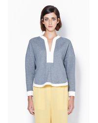 3.1 Phillip Lim - Gray Sweatshirt With Arabesque Neckline - Lyst