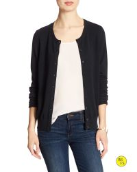 Banana Republic | Black Factory Forever Crew-neck Cardigan | Lyst