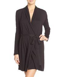 Skin - Black Pima Cotton Wrap Robe - Lyst