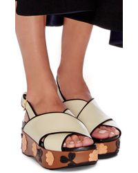 Marni - White Leather Crossover Floral Decal Sandals - Lyst