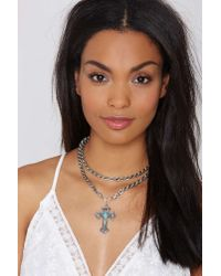 Nasty Gal | Metallic Cross My Mind Chain Necklace | Lyst