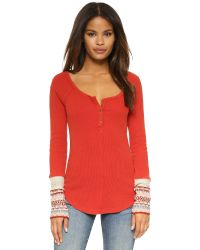 Free People | Red Newbie Thermal Ski Lodge Henley - Steel Grey | Lyst