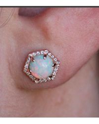 Anne Sisteron - 14kt Rose Gold White Opal Diamond Hexagon Stud Earrings - Lyst