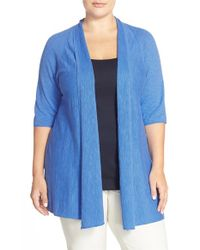 Eileen Fisher | Blue Organic Linen & Organic Cotton Straight Cardigan | Lyst