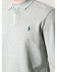 Ralph Lauren Blue Label - Gray Long Sleeve Polo Shirt for Men - Lyst