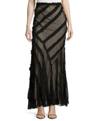 Haute Hippie - Black Long Skirt With Frayed-stripe Detail - Lyst