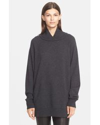 VINCE | Gray Rib Neck Pullover | Lyst