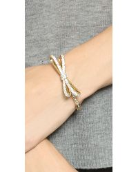 kate spade new york - Metallic Tied Up Hinge Bracelet - Cleargold - Lyst