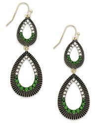 INC International Concepts | Gold-tone Green And Crystal Double Teardrop Earrings | Lyst