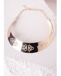 Missguided | Metallic Aztec Cut Out Collar Necklace Gold | Lyst