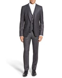 HUGO - Gray Extra Trim Fit Three-piece Wool Suit for Men - Lyst