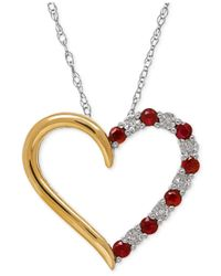 Macy's | Metallic Ruby (1/3 Ct. T.w.) And Diamond Accent Heart Pendant Necklace In Sterling Silver And 14k Gold | Lyst