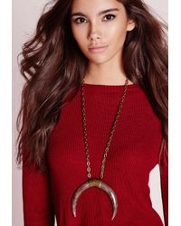 Missguided | Curve Horn Necklace Brown | Lyst