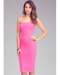 Bebe | Pink Strapless Solid Midi Dress Online Exclusive | Lyst