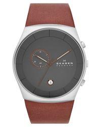 Skagen - Metallic 'havene' Chronograph Leather Strap Watch - Lyst