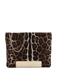 Jimmy Choo - Brown Leopard Print Calf Hair 'carrie' Chain Shoulder Bag - Lyst