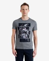 Ted Baker | Gray Split Floral Graphic T-shirt for Men | Lyst