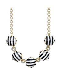 Juicy Couture | Goldtone Black And White Stripe Hexagon Link Necklace | Lyst