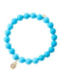 Sydney Evan | Blue 8Mm Turquoise Beaded Bracelet With 14K Yellow Gold/Diamond Medium Hamsa Charm (Made To Order) | Lyst