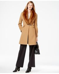 Ivanka Trump | Brown Faux-fur-trim Shawl-collar Coat | Lyst