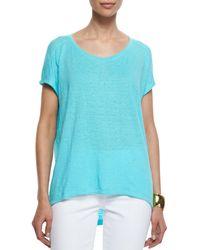 Eileen Fisher - Blue Organic Linen Jersey Cap-sleeve Top - Lyst