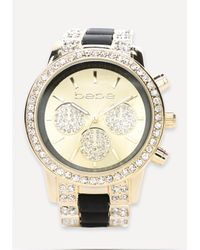 Bebe - Metallic Rhinestone Sports Watch - Lyst