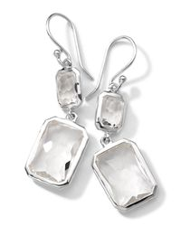 Ippolita - Metallic Sterling Silver Wonderland Rectangular Mini-drop Earrings In Clear Quartz - Lyst