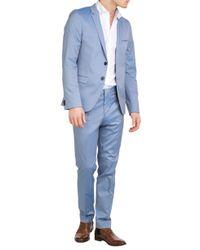 HUGO - Blue Cotton Blend Arti/Heggins Trousers for Men - Lyst