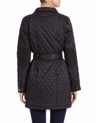 Vince Camuto - Black Quilted Zip-front Coat - Lyst