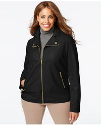 Kenneth Cole - Black Plus Size Faux-leather Bomber Jacket - Lyst