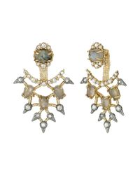 Alexis Bittar | Metallic Custom Cabochon Articulated Lace Back Post W/ Spiked Crystal Accents Earrings | Lyst