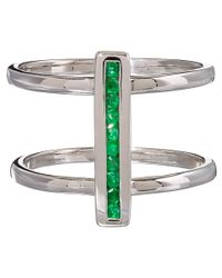 Anna Sheffield | Metallic Silver Pave Emerald Licol Ring | Lyst