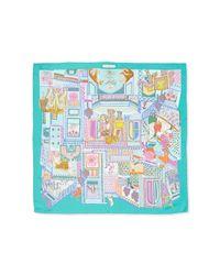 Ferragamo - Blue Gemma-print Foulard Scarf - Lyst