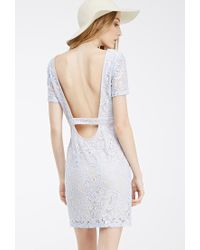 Forever 21 | Blue Floral Lace Scoop-back Dress | Lyst