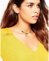 ASOS | Green Bar & Nugget Station Choker Necklace | Lyst