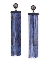 Marc By Marc Jacobs | Blue Acanthus Chain Fringe Earrings | Lyst