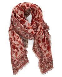 Hinge | Red 'frontier Floral' Jacquard Scarf | Lyst