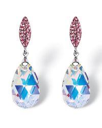Palmbeach Jewelry - Metallic Pear-cut Aurora Borealis Crystal Drop Earrings Made With Swarovski Elements In Silvertone - Lyst