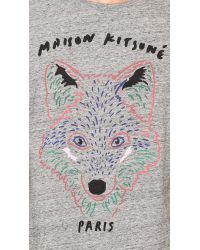 Maison Kitsuné - Gray 3d Fox Tshirt for Men - Lyst
