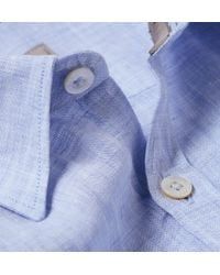 Canali - Blue Linen Shirt for Men - Lyst