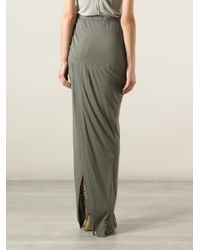 Rick Owens Lilies - Gray Asymmetric Slit Long Skirt - Lyst