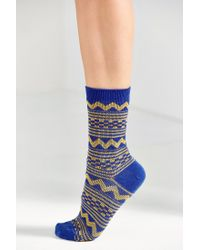 Urban Outfitters - Blue Multicolor Pattern Crew Sock - Lyst
