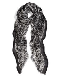 Halogen | Multicolor 'paisley Feather' Cotton & Wool Scarf | Lyst